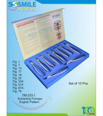 Extracting Forceps English Pattern Set of 10 Pcs