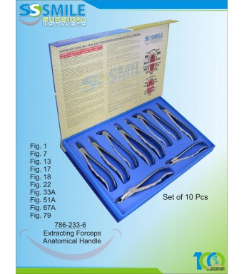 Extracting Forceps Anatomical Handle Set of 10 Pcs