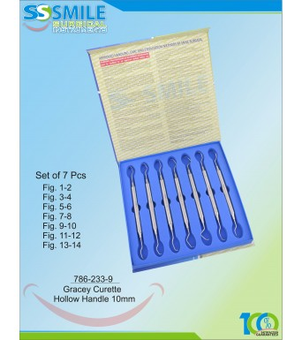 Gracey Curette Hollow Handle 10mm (Set of 7 Pieces)