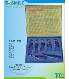 Baby Extracting Forceps (Rainbow Coated) Set of 7 Pieces