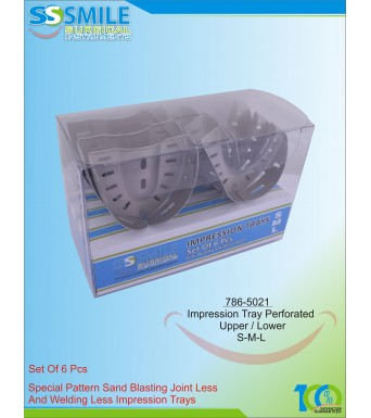 Impression Trays (Sand Blasting) Perforated Set of 6 Pieces