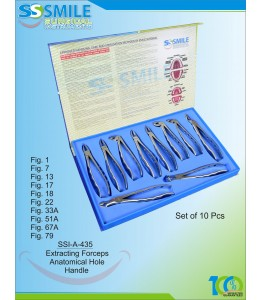 Extracting Forceps Anatomical Hole Handle  Set of 10 Pieces